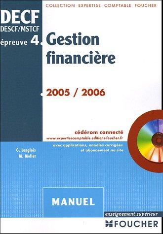 Gestion financière DECF épreuve n° 4 : Manuel (1Cédérom) par Georges Langlois, Michèle Mollet