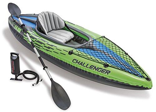Intex Schlauchboot Aufblasbares Kajak Boot Challenger K1 Phthalates Free Inkl. 84 Paddel und Luftpumpe, 274 X 76 X 33 cm, 68305NP (Für Kajak)