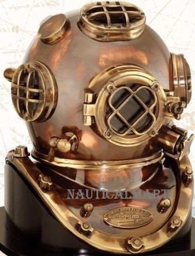 NAUTICALMART VINTAGE SOLID COPPER & BRASS ANTIQUE US NAVY MARK V DIVERS HELMET by NAUTICALMART