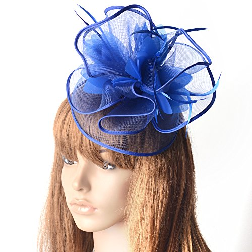 Fascinators Hat Flower Mesh Ribbons Federn auf Einem -