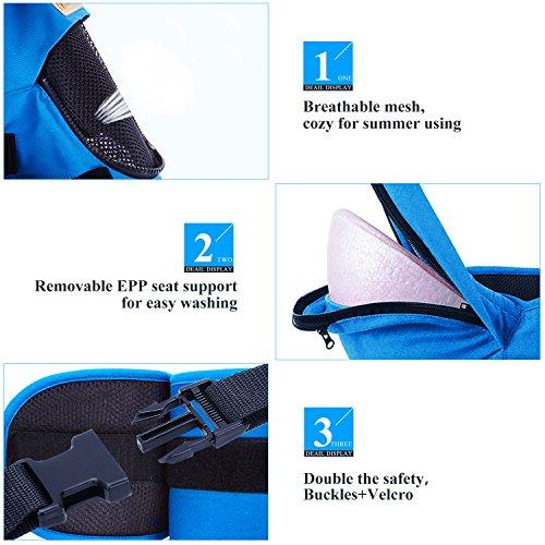 Porte Bébé Dorsal Multifonctionnel 4 en 1 le Tissu Sangle Confortable Respirable Réglable pour Nouveau-nés Nourrissons Tout-petits (3-20KG, 3-36Mois)