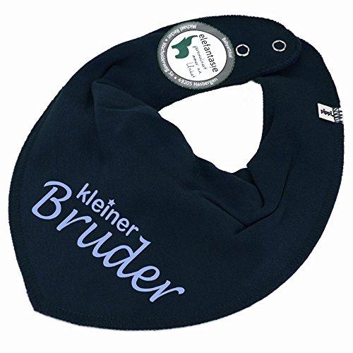 Brüder-kleidung (HALSTUCH mit Spruch kleiner Bruder für Baby oder Kind dunkelblau)