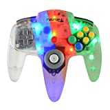 Retro-Link Wired N64 Style USB Controller with Blue/Red/Green LED On-Off Switch and Dimmer by Retro-Link