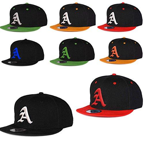Casquette de Baseball Snapback Bonnet Cap Chapeau Snap back 3D Gothique A Hip-Hop (A Black Black) A Green White