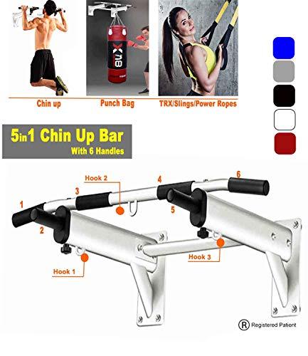 Barra para montar en la pared, soporte de metal, barra de dominadas para puerta, fitness, ejercicio en casa, blanco