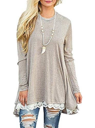 CoCo Fashion Damen Tunika Langarm Oversize Sweatshirts Frühling Casual Lang Tshirt Top (EU L, Khaki) (Baumwoll-t-shirt Jumper)