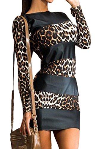 Frauen Heißen Lange Ärmel Leopard Colorblock Bodycon T - Shirt Anziehen Leopard L (Heiße T-shirt Frauen)