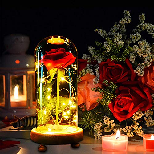 MMTX La Bella y la Bestia Rose Light Gift para Navidad día de San Valentín Día de la Madre, Luz Rosa encantada con 8 Modelos en cúpula de Vidrio con Control Remoto para Regalo de cumpleaños de Boda
