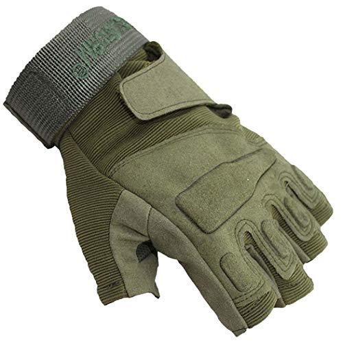 MISS&YG Black Hawk Halb-Finger-Taktische Handschuhe/Army Fan Outdoor Field Game Halbhandschuhe Parkour Running Handschuhe,ArmyGreen,XL (Thermal-taktische)