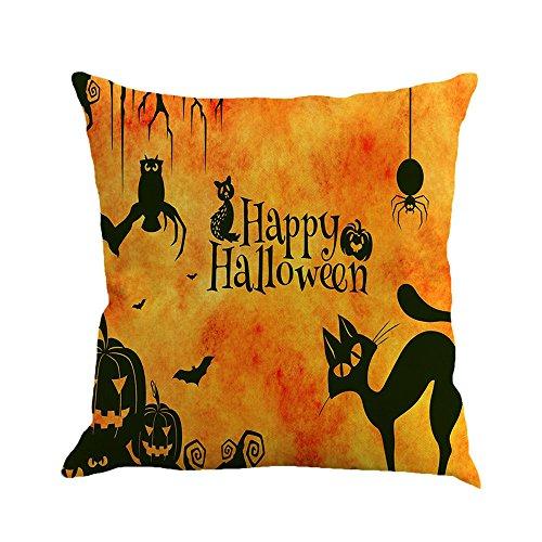JenK Cing Halloween Kissenbezüge Leinen Sofa Kissenbezug Home Decor koordiniert Dekorative quadratische Kissenbezüge stilvolle Taschen Wohnzimmer Sofa Schlafzimmer mit Reißverschluss (C)