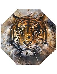 ALAZA Tiger Pintura Abstracta Viaje Paraguas de Apertura automática Cerca de Protección UV a Prueba de