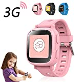 Oaxis Kinder Touch Screen 3G GPS Smart Watch, Kids Smartwatch mit Fitness Anti-verloren SOS Finder Geo Fechten (Pink)
