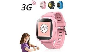 Oaxis Enfants WatchPhone Montre Connectée avec fonction Téléphone -1 ère Montre Connectée avec Carte SIM 3G , Contrôle Parentale avec GPS Tracker Balisage Géolocalisée pour les filles garçons