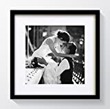 """10x10"""" For 7x7"""" Photo - GLASS Window - Black Modern Oxford Square Photo Frame With Soft Cream Mount"""