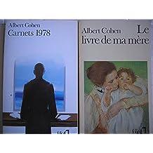 albert cohen - lot 2 livres : le livre de ma mere - carnets 1978
