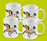 4er Set Keramik-Tassen mit Comic-Pferd
