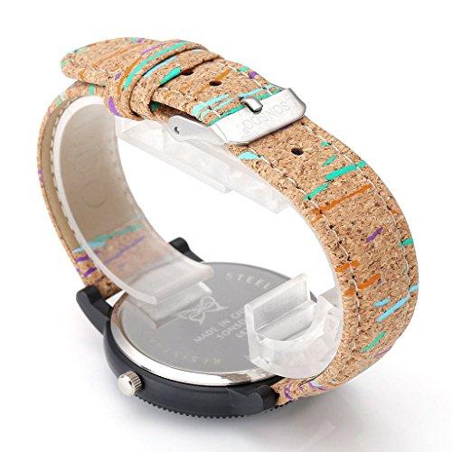 JSDDE Uhren,Retro Stil Tarnung Farbig Streifen Armbanduhr Vintage Damenuhr Holz Kork Muster PU Lederband Analog Quarzuhr - 3