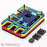 AZDelivery ⭐⭐⭐⭐⭐ Kühler Set für Raspberry Pi - Acrylglas Case Gehäuse, Alu Kühlkörper + Lüfter (Bund,5 Schichten)