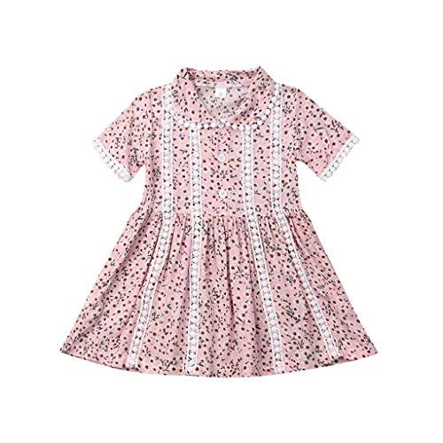 eid, Sommer Kleinkind Baby Kurzarm Blumendruck Kleid Quasten Kleider Kleidung ()