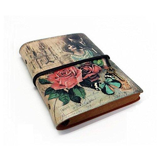 Fittoway Notebook Europea - Cuaderno de notas A6, retro, carpetas de anillas, multifunción y 30hojas, color Rose Wine Red