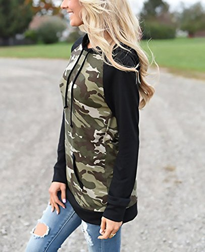 Freestyle Donna Autunno Hoodie Shirts Sweatshirt Pullover Maglie a Manica Lunga Hoody Camuffamento Casual Tasca Felpe con Cappuccio Verde