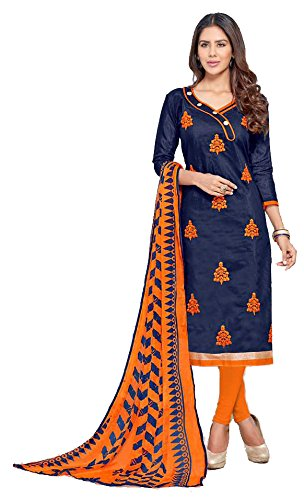 Shree Ganesh Retail Womens Chanderi Cotton Embroidery Siut Salwar Kameez Unstitched Dress...