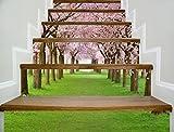 12 Stücke Treppen Aufkleber, Kreative 3D Sakura Stil selbstklebende Stairway Decals Abnehmbare DIY Treppenstufen Decor Papier 100x18 cm