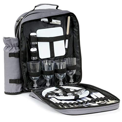 CampFeuer Picknick Rucksack für 4 Personen mit Flaschenhalter, großem Kühlfach, Geschirr und Besteck, Picknickset 31-teilig, grau -