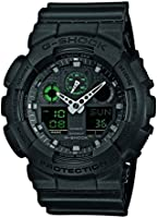 Casio Men's G-Shock Quartz Watch with Black Dial Analogue Digital Display and Black Resin Strap, GA-100MB-1AER