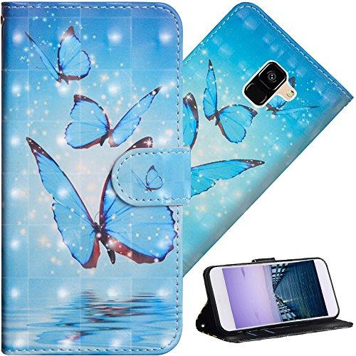 COTDINFOR Galaxy A6 Plus 2018 Hülle für Geschenk Lederhülle 3D-Effekt Kartenfächer Schutzhülle Protective Handy Tasche Schale Standfunktion Etui für Samsung A6 Plus 2018 Three Blue Butterflies YX.