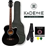 #6: Kadence Frontier Series,Black Acoustic Guitar Combo(Bag,strap,strings and 3 picks)