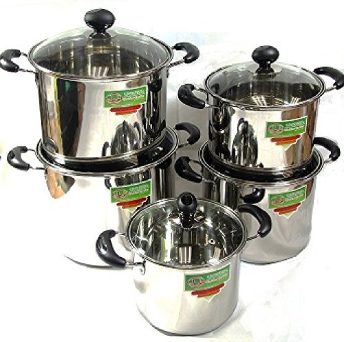 3790 Uniware 10-Piece Heavy Duty Stainless Steel Sauce Pot with Tempered Glass Lid