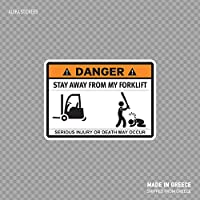 Beach345sley Funny Stay Away from My Forklift Sign Humoristic Factory Worker 57 Funny Sticker Decal 5x4 inch