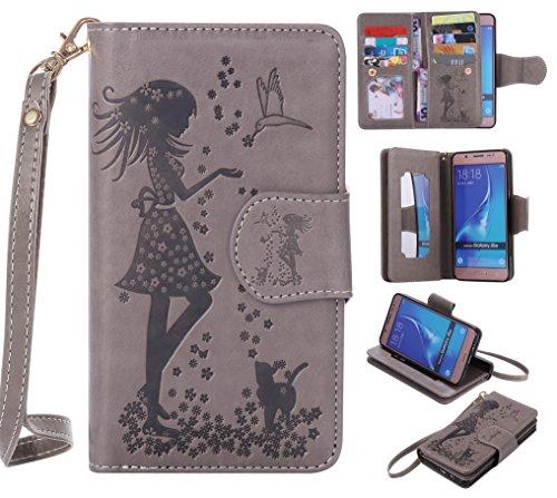 Cozy Hut Samsung Galaxy J5 2016 Schutzhülle, [9 Card Slots] PU Leder Flip Wallet Case Leder Tasche Bumper Stand Funktion Kartenfächer Magnet Closure HandyHülle für Samsung Galaxy J5 2016 - grau