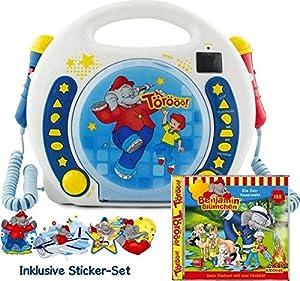 X4-TECH 701740 Bobby Joey - Reproductor de música para niños (Reproductor de Benjamin con micrófonos CD-2, MP3, Karaoke), Color Azul y Blanco