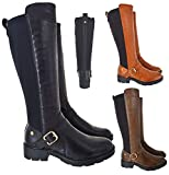 EYESONTOES Ladies Womens Double Elastic Wide Calf Flat Buckle Riding Stretch Boots Size 2-8