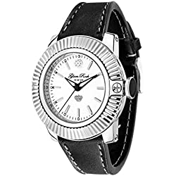 Glam Rock Watches Unisex Quartz Watch with White Dial Analogue Display and Black Leather Strap 0.96.2799