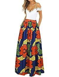 8d7417442b CLOCOLOR Falda Larga Plisada Encaje con Estampado Exótico Africano Para  Mujer Talla Grande Casual Cintura Alta Falda Vintage Longitud…