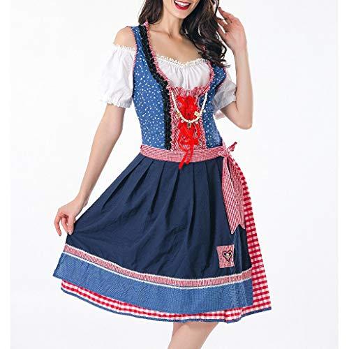 Chejarity 5 TLG Damen Frauen Oktoberfest Kostüm: Kleid, Top, Weste, Gürtel, Hängende Perlen Bayerisches Bier Mädchen Drindl Tavern Cosplay Halloween Kurze Maid Kostüm Trachtenkleid (L, Blau) (Top 5 Kostüm Für Haustiere)