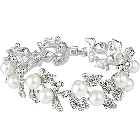 EVER FAITH® Austrian Crystal Elegant Flower White Color Simulated Pearl Bridal Bracelet Silver-Tone