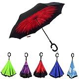 Reversion Regenschirm, Innovative Schirme Double Layer Winddicht Regenschirm Freie Hand Taschenschirm inverted Stockschirme mit C Griff für Reisen und Auto Outdoor di Cloud-Castle (karminrot)
