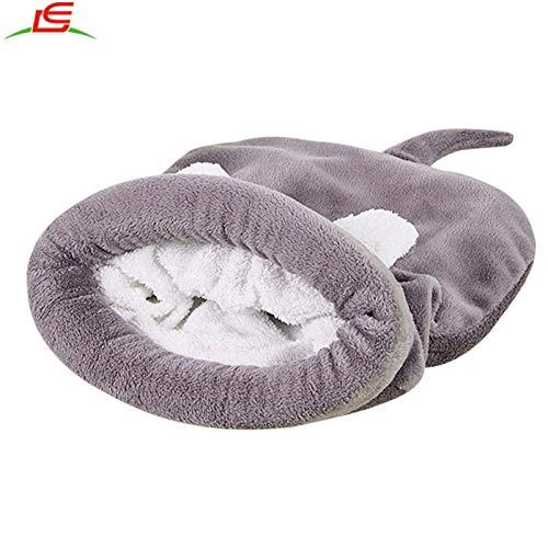 YOAI Katzen Schlafsack Waschbar bequem Haustier Kissen Katzenbett Kuschelh?hle aus Fleece f¨¹r Katzen, Kleintiere oder Welpen Grau M