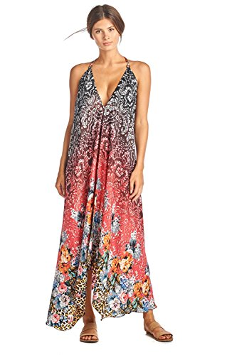 Iris Impressions Athena Silk-Blend Floral Maxi Dress - Convertible, Fits sizes 0 to 22 - Instructional DVD Included - Coral (Sleeve Tan Top Short)