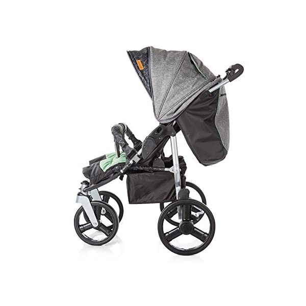 Chipolino Twin Stroller Twix, Green Chipolino Three big section canopies with viewing panels and pockets 5-point adjustable harness with shoulder pads and adjustable leg rests 5 position reclining seats 4