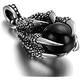 Daesar Joyería Collar Colgante Acero Mujer Hombre, Garras de Dragón con Ball Bola Colgante Retro Biker Negro, Tamaño 20x30mm