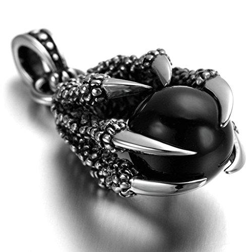 Daesar Joyería Collar Colgante Acero Mujer Hombre, Garras de Dragón con Ball Bola Colgante Retro Biker Negro, Tamaño