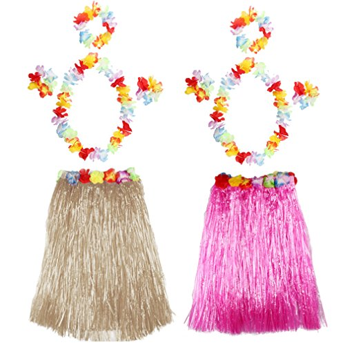2 Pcs Hawaii-Rock Mädchen Grass Rock Kinder Tanzen Party Skirts Summer Strand Rock Blumen Armbänder Halskette Stirnband,40 cm