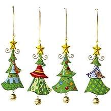 Metallanhänger in Tannenbaum-Form, 4er Set, schöne Weihnachtsdekoration am Weihnachtsbaum, Fenster oder Türgesteck
