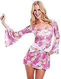 erdbeerloft - Damen Hippi Kostüm Minikleid Flower Power Karneval Fasching bunt, 40, Rosa