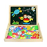 Magnetic Drawing Board Game Double Sided Blackboard Wooden Jigsaw Puzzles for Girls Boys